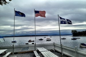 flags over Lake Champlain