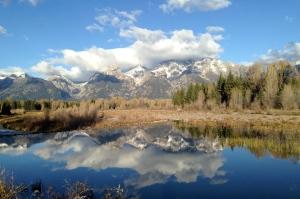 Reflections in the quiet waters of Schwabacher Landing.