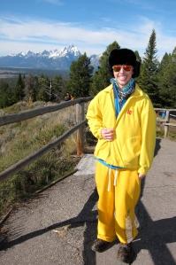 His pants, Nancy's jacket, a great ensemble. Despite the hat, Jordan will not be mistaken for a bear.
