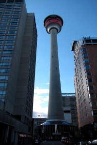 The Olympic Torch lit up the sky atop this tower.
